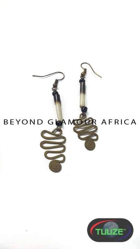 African spirsl earrings