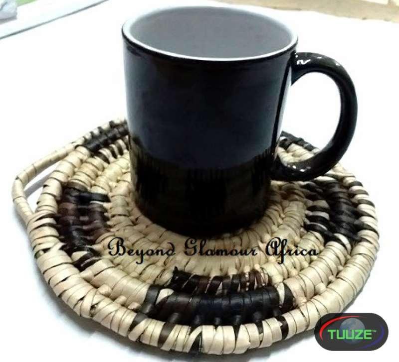 Black Cream handwoven coasters