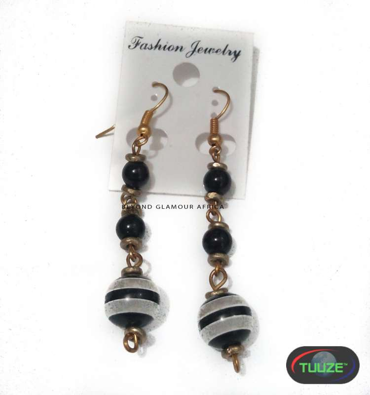 Black and white african earrings