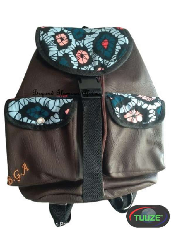 Brown Leather Blue Ankara backpack
