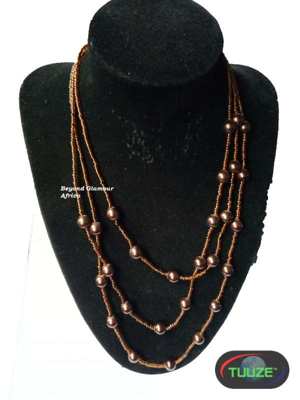 Brown Tripple Strand Pearl Necklace