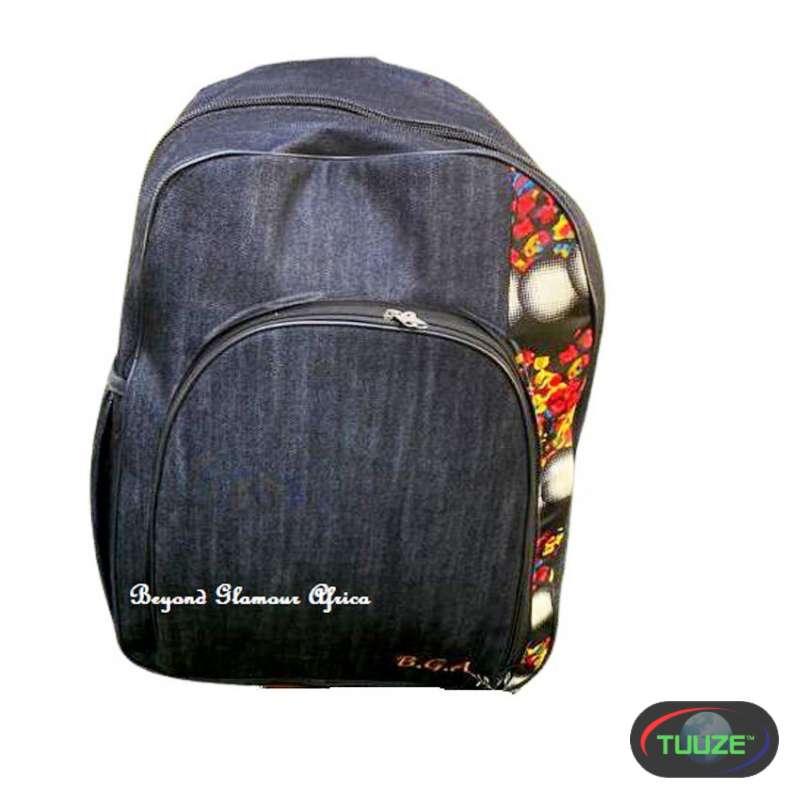 Denim Backpack with ankara