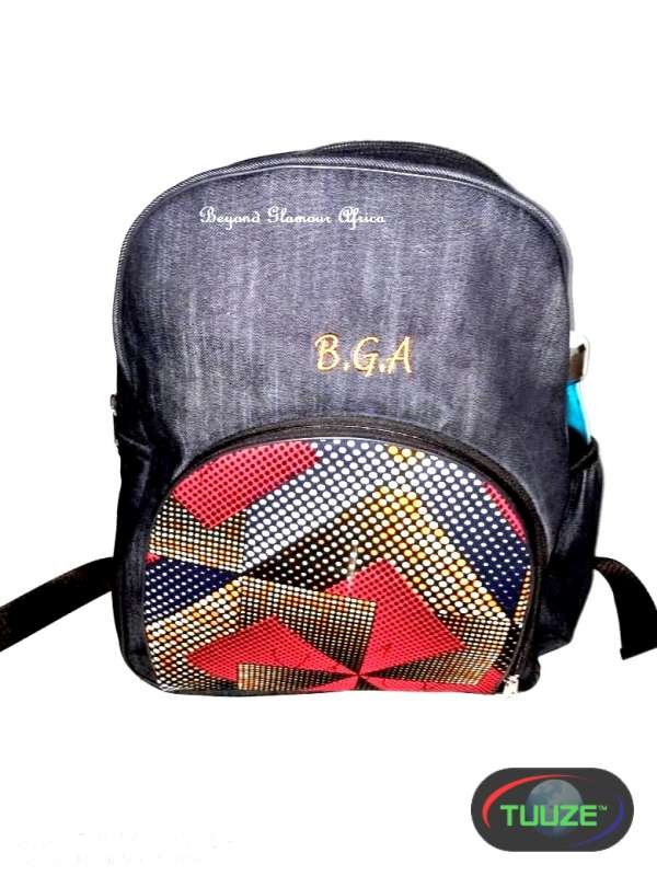 Denim red Ankara backpack