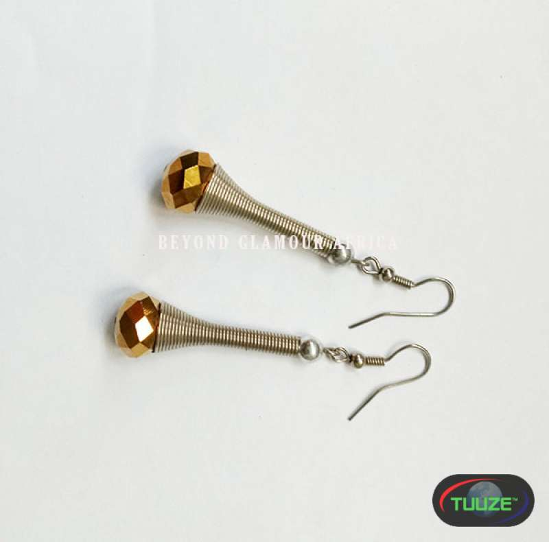 Golden Crystal Long Earrings