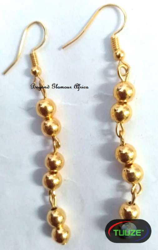 Ladies Beaded Brass Earrings