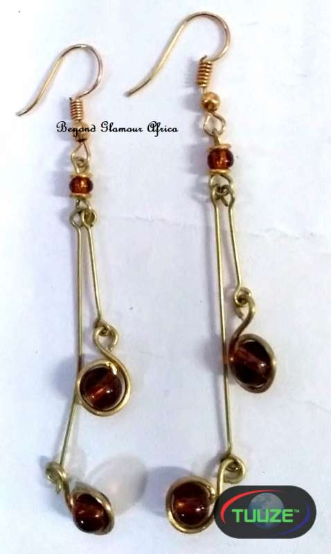 Ladies Crystal Brown Brass Earrings
