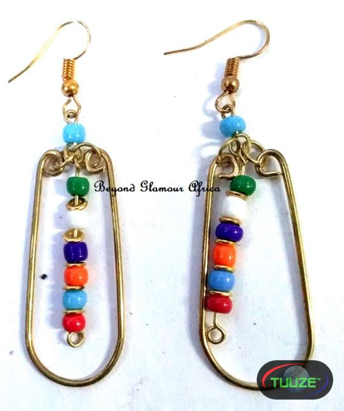 Ladies Multi colored Beaded brass earrings