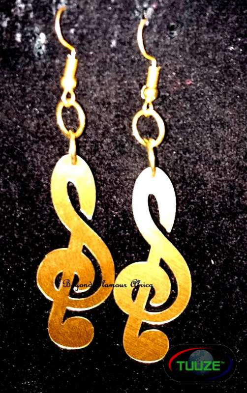 Ladies Musical Note Brass Earrings