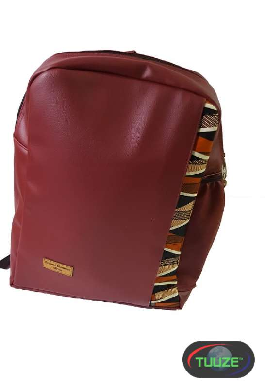 Maroon Leather Backpack