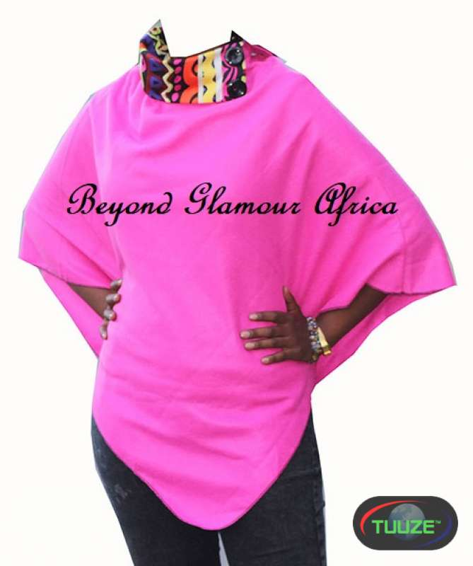 Pink Warm Fashionable Poncho With Tribal Collar