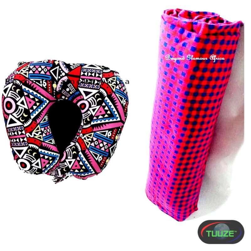 Pink ankara travelling pillow with maasai shuka