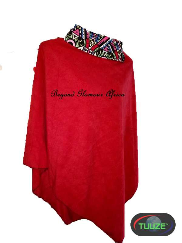 Red warm ladies poncho With Ankara collar