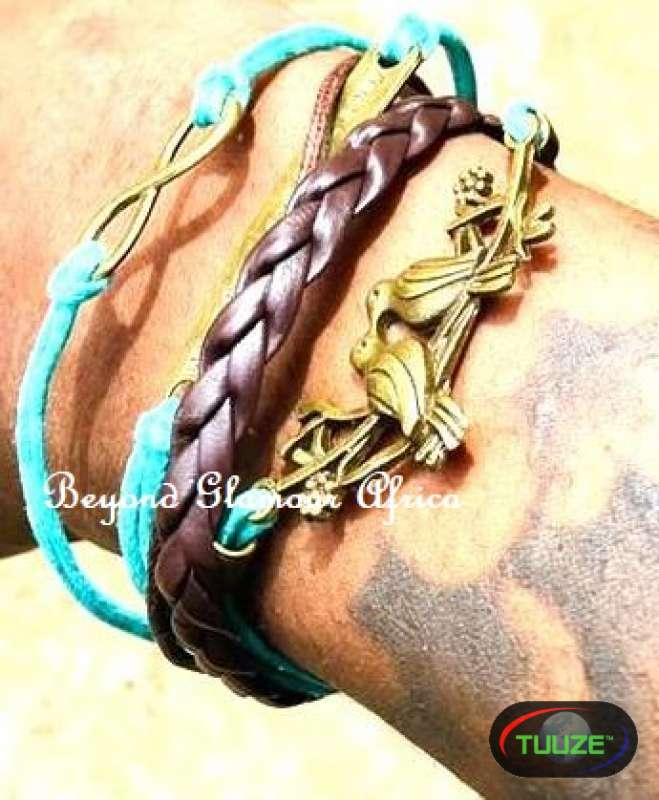 Teal Multi leather bracelet
