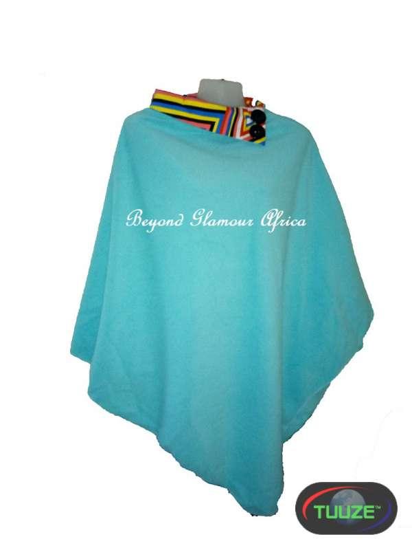 Turquoise stylish warm poncho with ankara collar