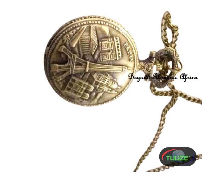 Unisex Eiffel Brass pocket watch