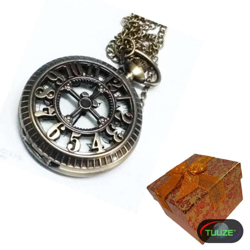 Unisex Numberred Brass pocket watch with gift box