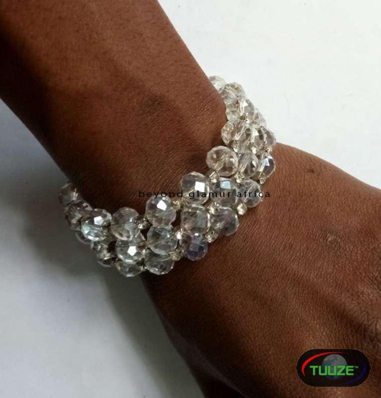 White Spiral Crystal Bracelet
