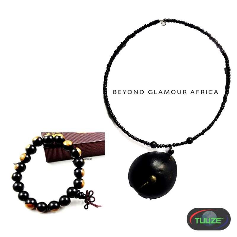 Women Beaded Wood necklace with Shamballa bracelet