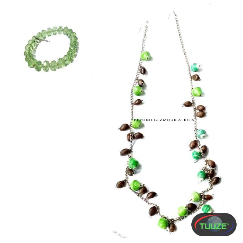 Womens Beaded african necklace crystal earrings