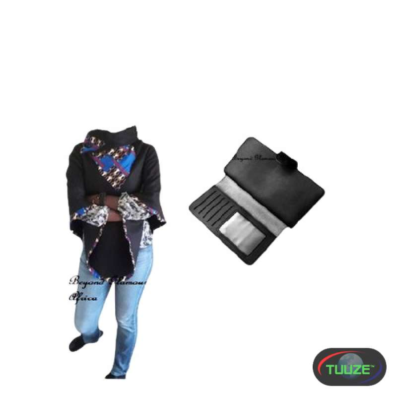 Womens Black Ankara poncho with leather wallet