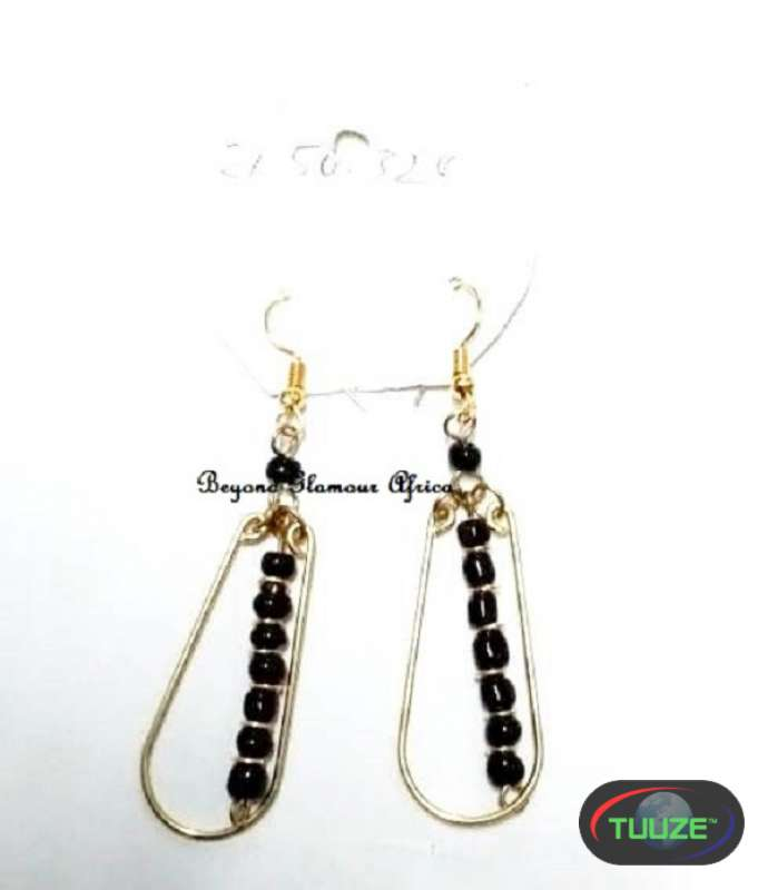 Womens Black Beaded gold tone earrings