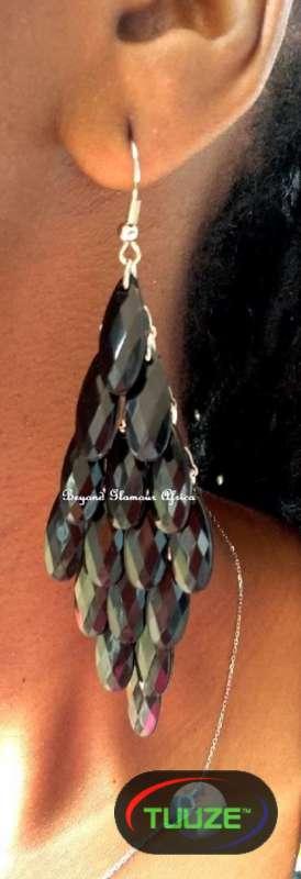 Womens Black Crystal chandelier Earrings