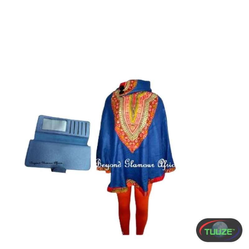 Womens Blue dashiki poncho with leather wallet