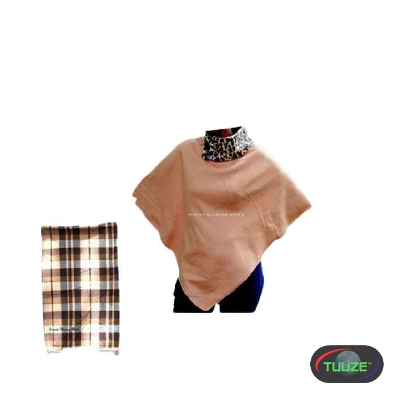 Womens Brown cotton poncho shawl