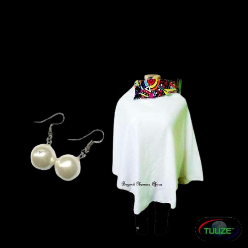 Womens Cream Ankara Poncho with pearl earrings