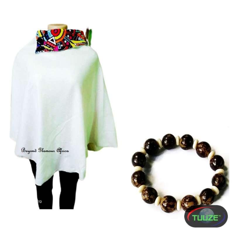 Womens Cream ankara poncho with wooden bracelet
