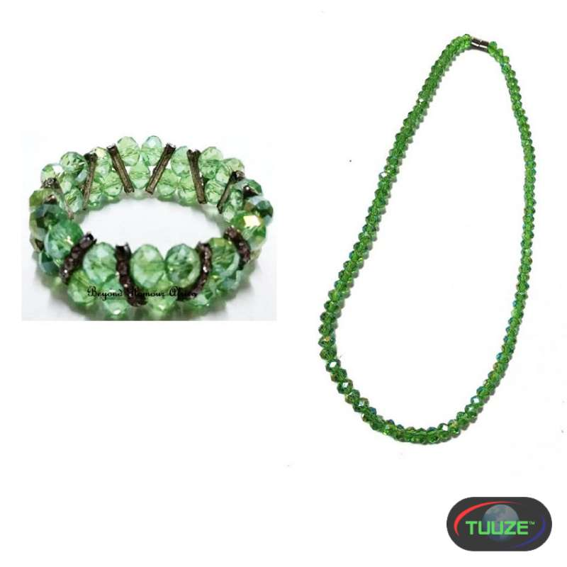 Womens Green Crystals Bracelet and necklace