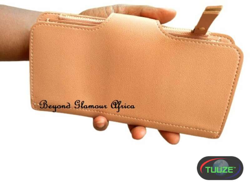 Womens Large Leather peach wallet