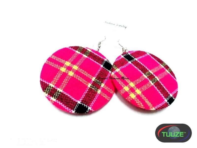 Womens Pink maasai shuka earrings