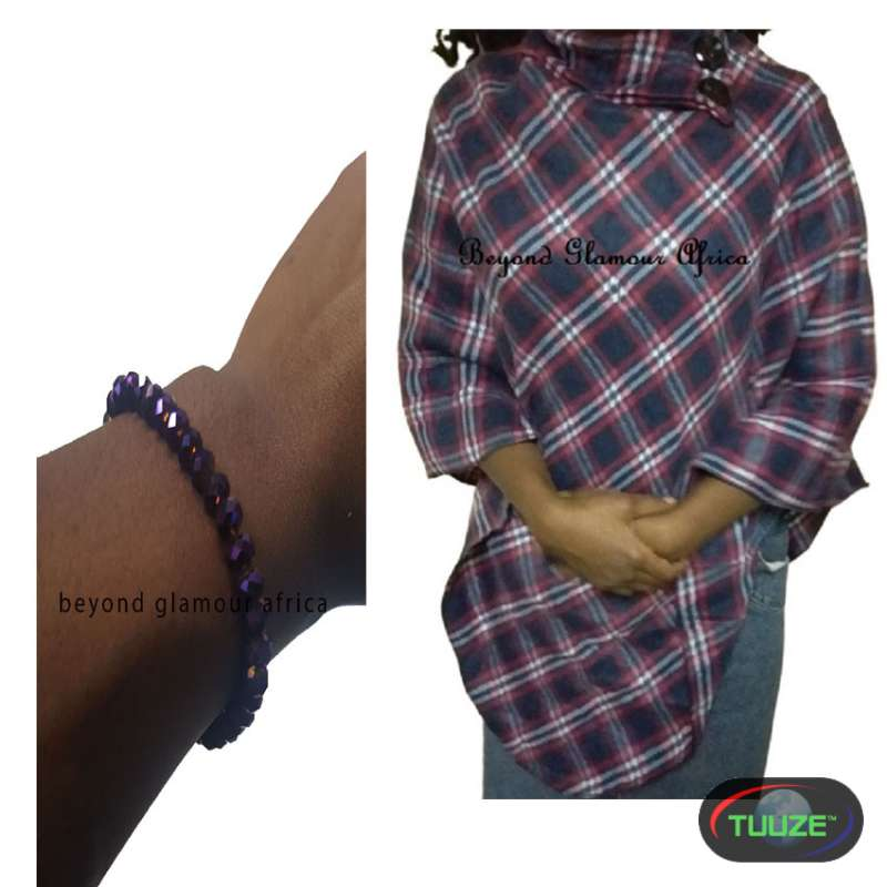 Womens Purple cotton poncho with crystal bracelet