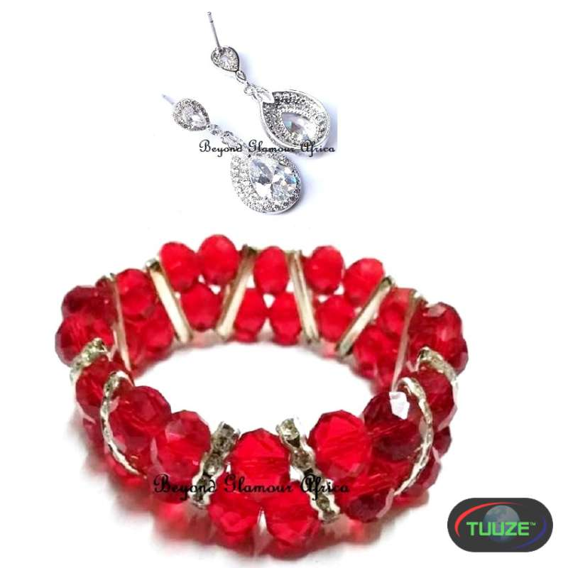 Womens Red crystal bracelet with silver earrings