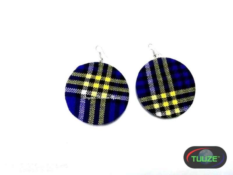Womens blue maasai shuka earrings