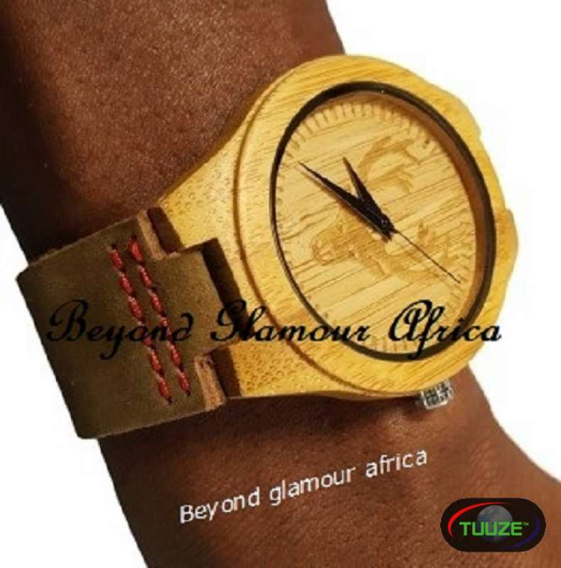 Wooden watch analog lightweight handmade brown