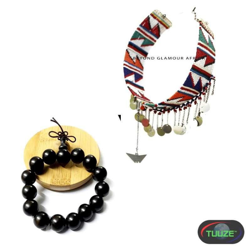 womens maasai choker with shamballa bracelet